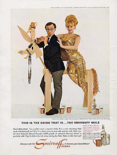 Vintage Sirnoff ad with Woody Allen