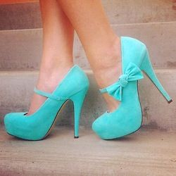 I love these shoes they are blue and have bows