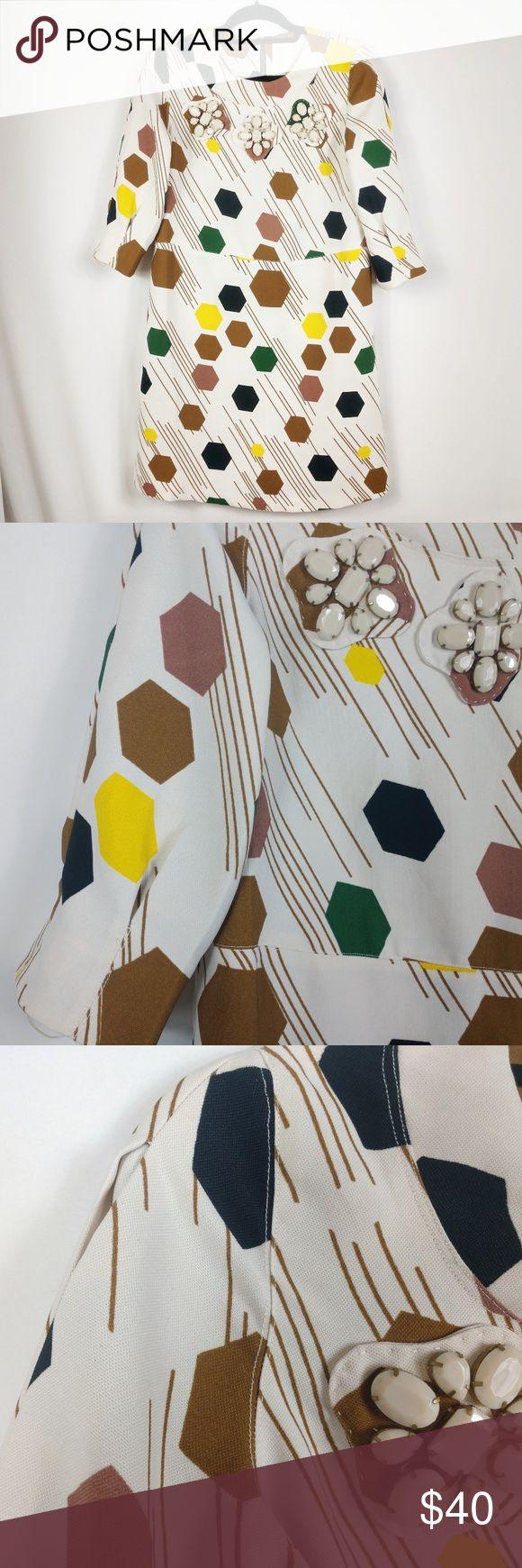 Karta Vintage Style Shift Dress Geometric Print ▪️Zip back closure ▪️Exc…