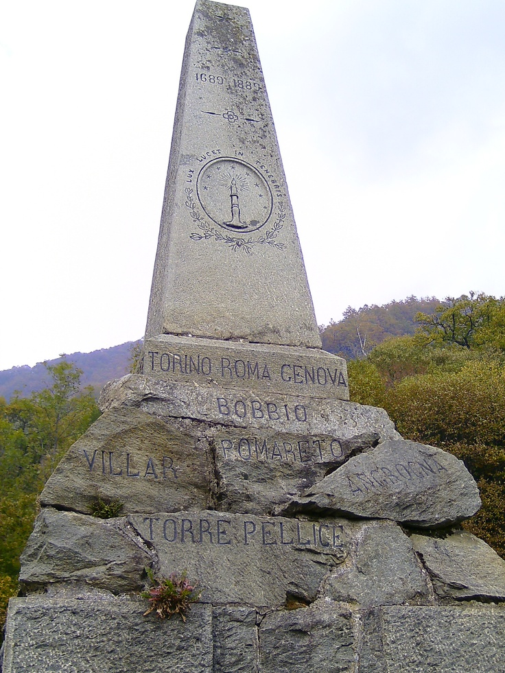 This is a monument for the battles that took place between the Roman Catholics and the Waldensians. The Waldensians faced persecution for disagreeing with the teachings of the Roman Catholic Church. They were martyred and thrown off mountain  tops but they still stood up for their right to follow Christ and read the Bible. Eventually, the Waldensians gained the freedom to practice their own religion, that is, to this day, still practiced in Italy.