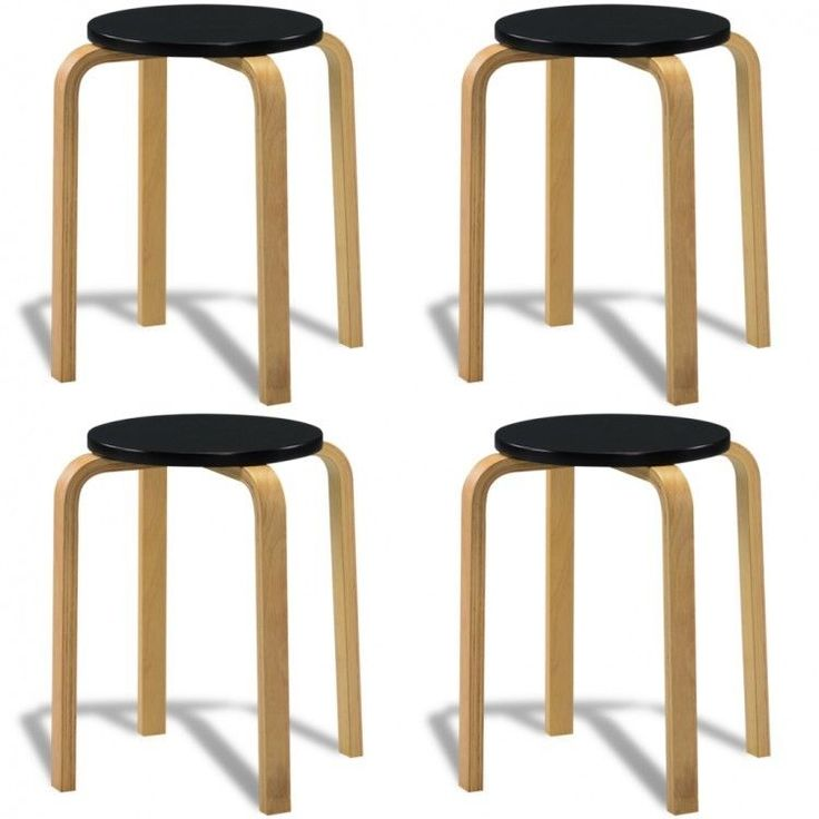 Kitchen Stools Wooden Modern Style Small Vintage House Patio Stool Set of 4 Seat