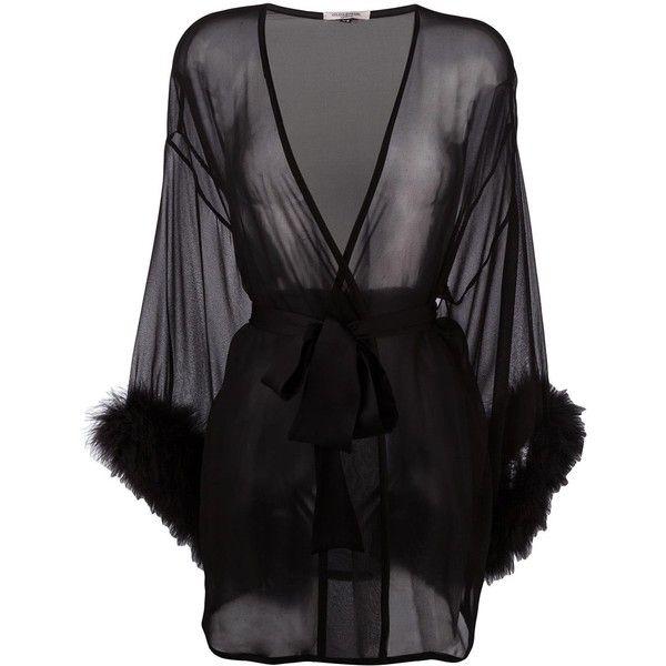 Gilda & Pearl 'Diana' kimono ($462) ❤ liked on Polyvore featuring intimates, robes, lingerie, robe, black, jackets, kimono, silk kimono, silk lingerie and silk dressing gown kimono