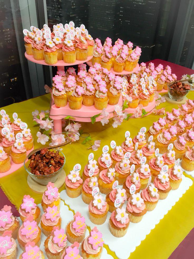 CodeIQ感謝祭 桜とピンクのカップケーキとテーブルコーディネートを担当しました