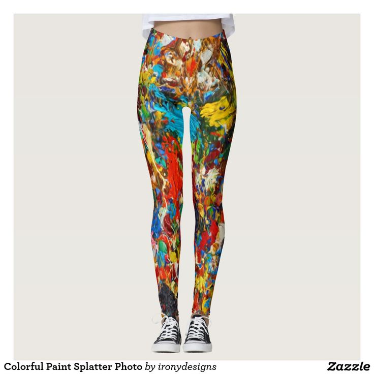 Colorful Paint Splatter Photo Leggings / Yoga Pants. Bright colors of oil painting paint splash.