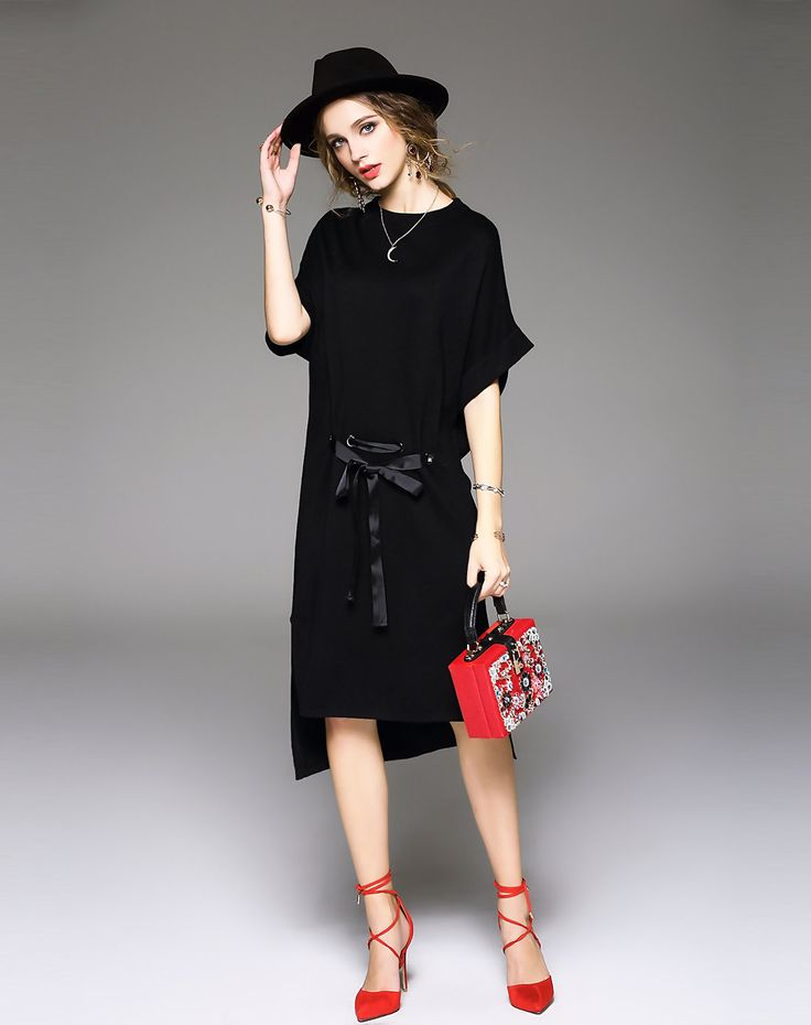 #VIPme Black Plain Wool Blend Hi-lo Midi Dress ❤️ Get more outfit ideas and style inspiration from fashion designers at VIPme.com.