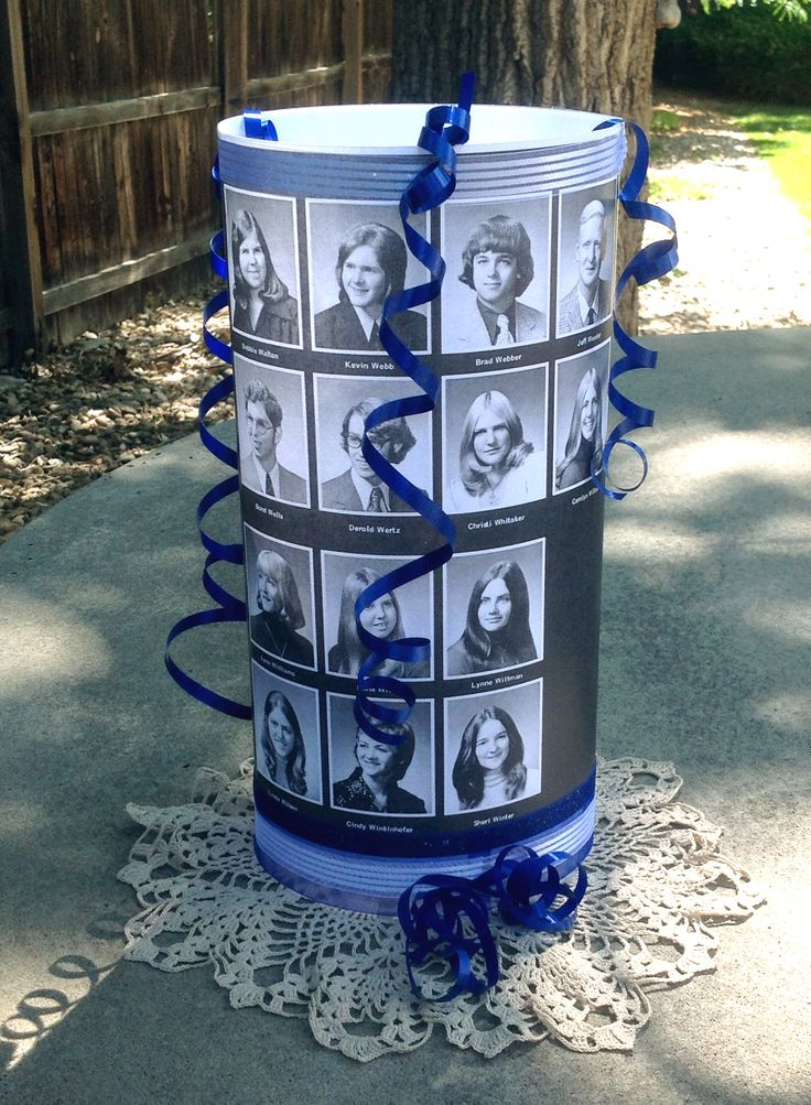 Class reunion centerpiece - Copy pages from your class yearbook with regular paper (not photo paper) Spray adhesive on a sheet of acetate film, place copy of yearbook page on the acetate film and form a cylinder shape. Tape closed with regular tape and decorate with ribbon in your class colors. Place flicker candle in the center and enjoy.