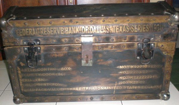 Federal Reserve Bank of Dallas, Texas Treaty of Versailles Treasury Chest ( front view ) reads three trillion, and holds twelve individually sealed metal presentation motherboxes containing two-hundred fifty Series 1934 Federal Reserve Note coupon bonds ( each ).