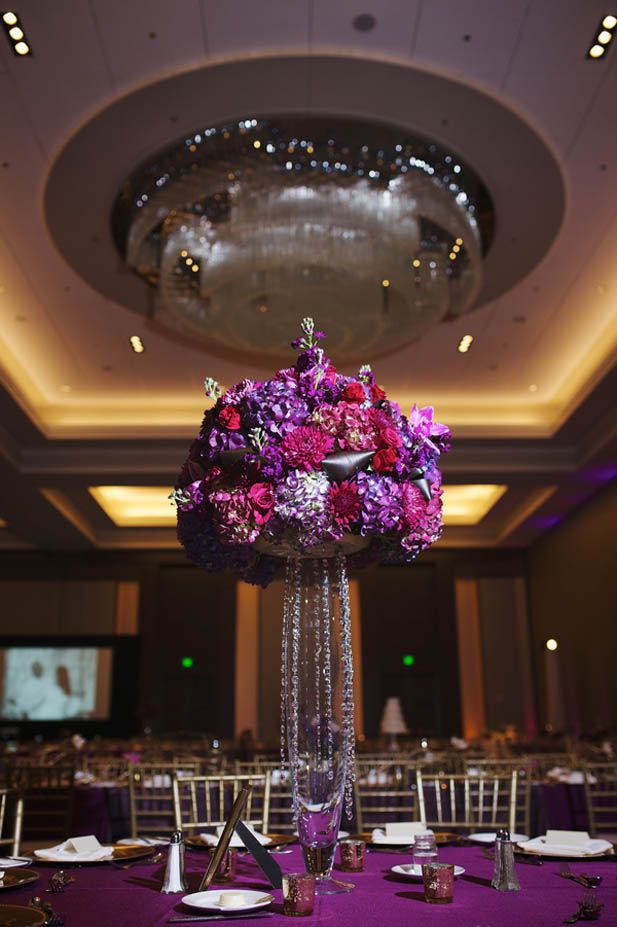 Glamorous purple jewel tone wedding centerpiece (Justin Wright Photography)