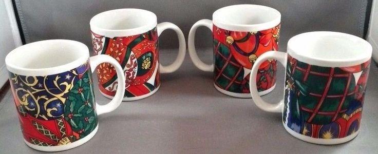 Signature Housewares Holiday Elegance Coffee Mugs Set of 4 Christmas Stoneware #SignatureHousewares