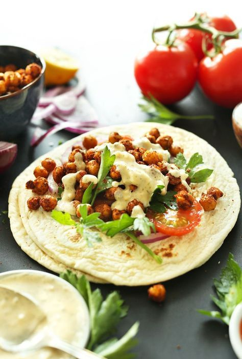 DELICIOUS 30-minute HEALTHY Chickpea Shawarma Wraps with a simple Garlic Dill Sauce! An easy, weeknight #vegan #plantbased meal! #healthy #recipe #mediterranean