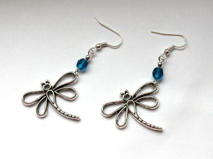 Kolczyki z ważkami w Especially for You! na http://pl.dawanda.com/shop/slicznieilirycznie #kolczyki #earrings #crystals #kryształki #handmade #DaWanda #dragonfly #ważki