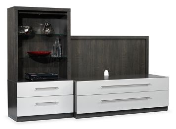 Love that grey & white combo. Bosco Entertainment Wall Units Collection - Leon's