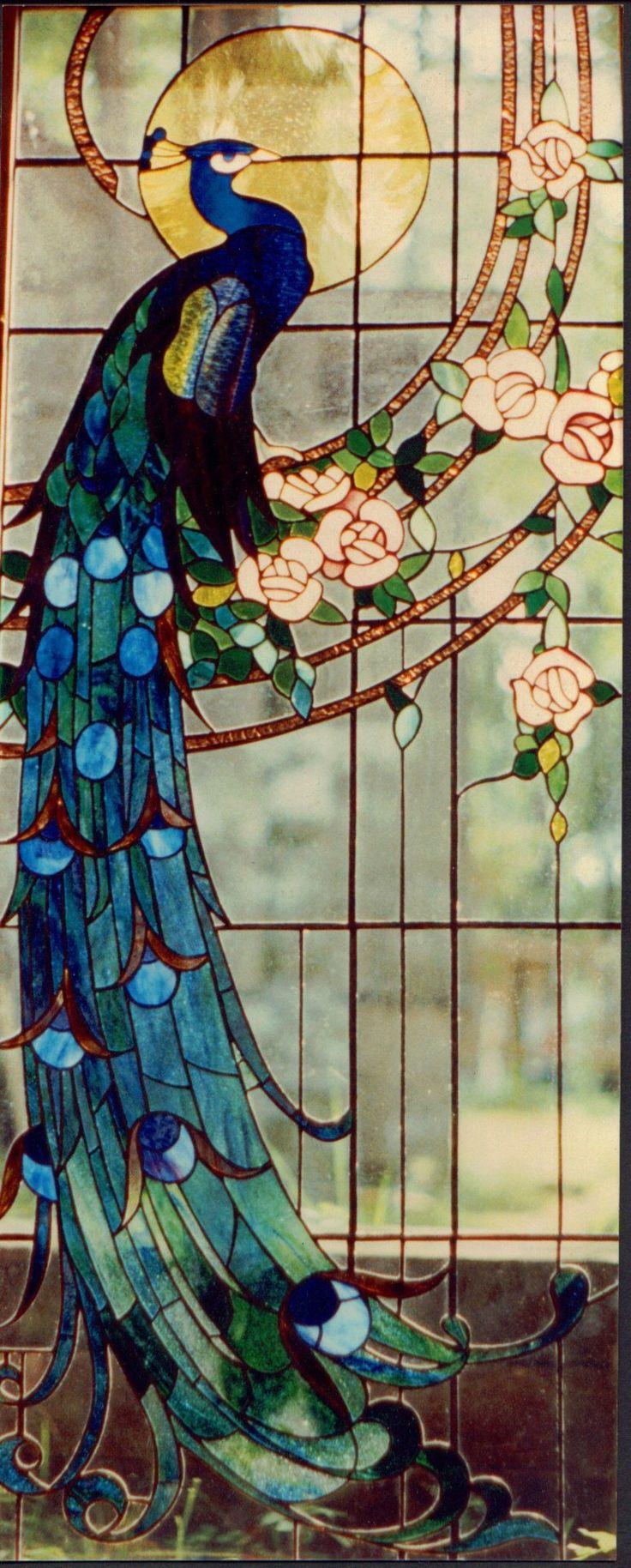 Janela de vidro com desenho de pavão