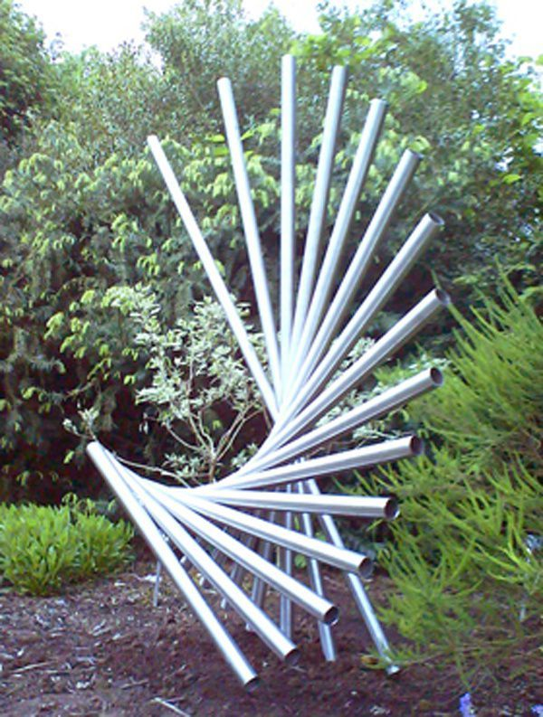 Stainless steel Garden Or Yard / Outside and Outdoor sculpture by artist Thomas Joynes titled: 'Revolve (stainless Steel abstract garden/Yard Contemporary sculptures)' - Artwork View 2