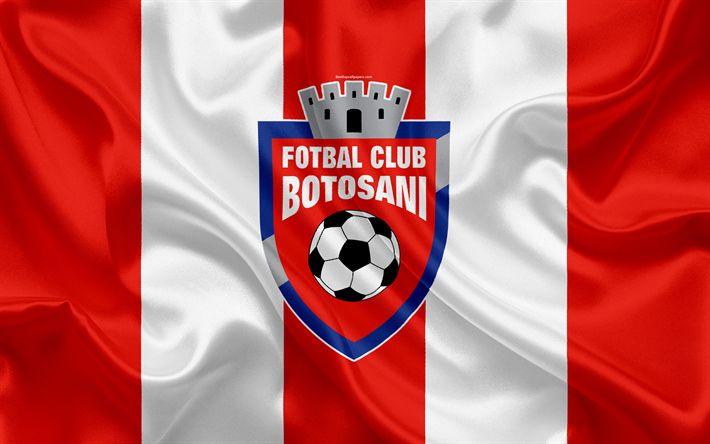 Download wallpapers Botosani FC, 4k, Romanian football club, logo, silk flag, Romanian Liga 1, Botosani, Romania, football