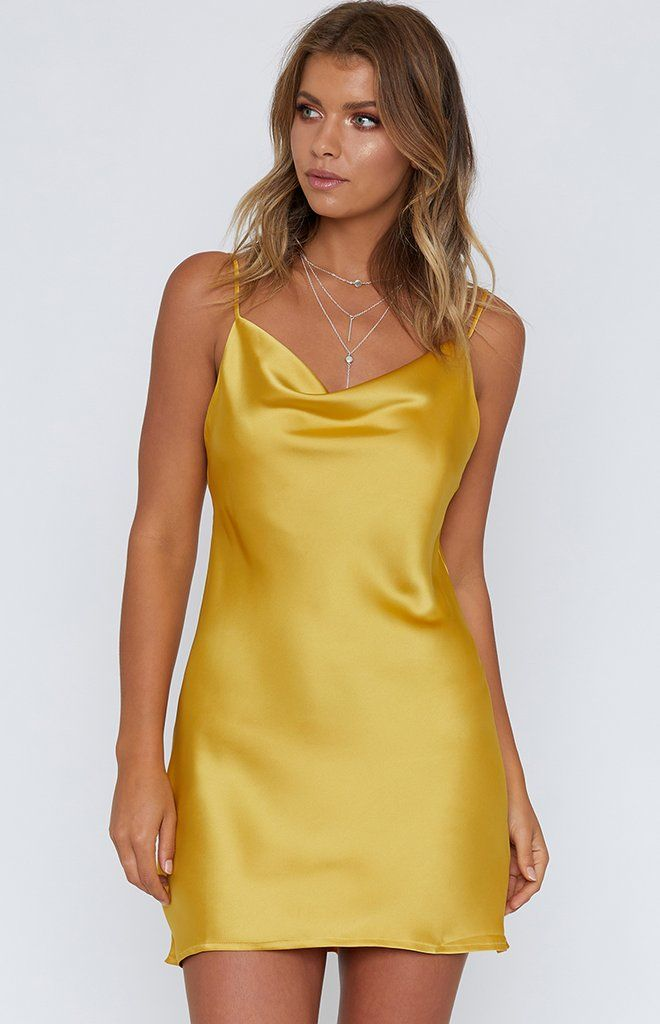 a0698e78585c You'll be the Belle of the ball in the Pippy Slip Dress in Mustard ...