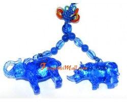 Blue Liuli Elephant and Rhino Protection Amulet