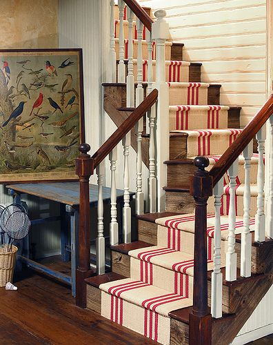 Red & natural striped stair runner by Colony Rug Company -- Photography by James K. Lindley