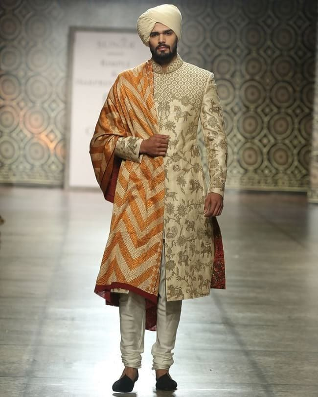Cream Embellished Sherwani with Chevron Pattern Dupaptta