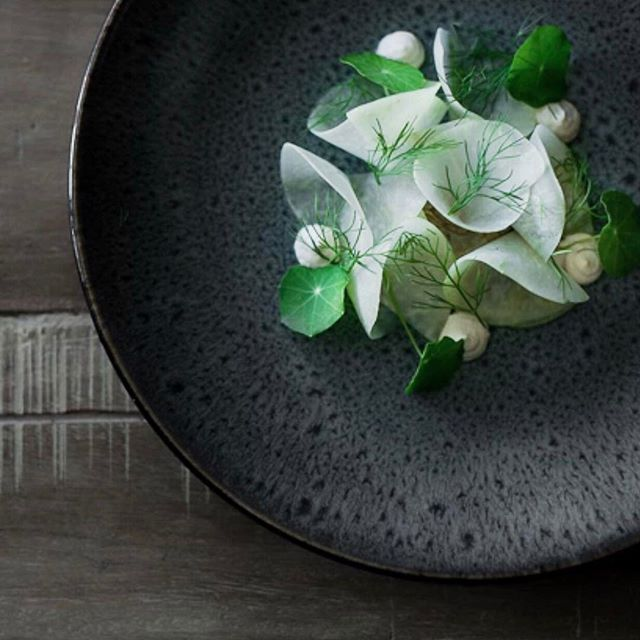 Fennel, kohlrabi, parsnip cream, and apple fennel seed vinaigrette by @born.under.the.sun #TheArtOfPlating
