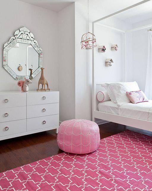 White, light, pink teen bedroom