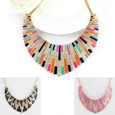 Chunky Bib Necklace - Multi Colour, Black or Pink