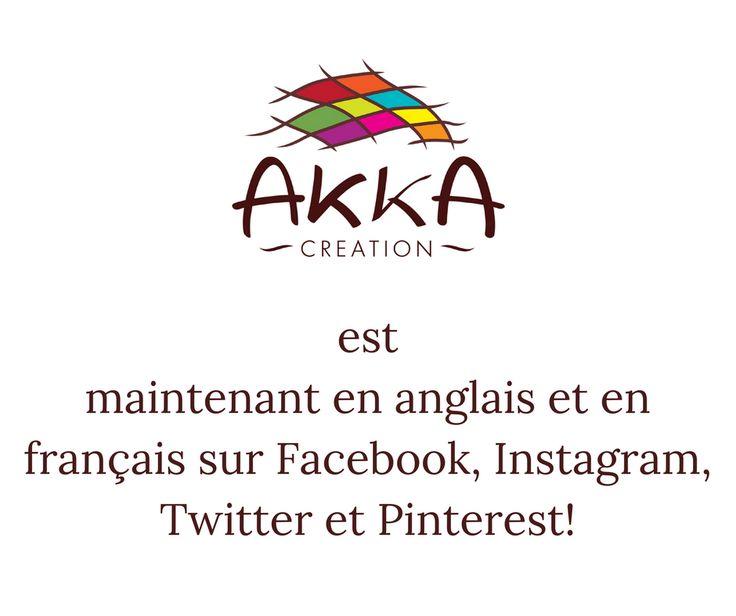 NOUVELLE DU JOUR !!!!  HAPPY NEWS !!!!!!!!!    Nous sommes heureuses d' annoncer à tous nos fidèles  supporters de langue FRANCAISE  qu ils pourront désormais nous suivre également en ANGLAIS sur Facebook, Instagram, Twitter et  Pinterest avec le nom 'Akka Creation Global'.    Ces quatres  platformes sont disponibles en Français et en Anglais dès maintenant et vous offrent  la chance de peaufiner vos connaissances dans les 2 langues  en admirant nos créations.    Ceci est notre pré-cadeau de…