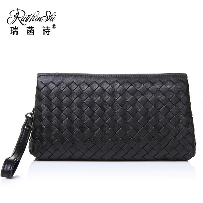 awesome Hot Female package 2015 new leather woven bag lady handbags hand caught female goat dinner wallet