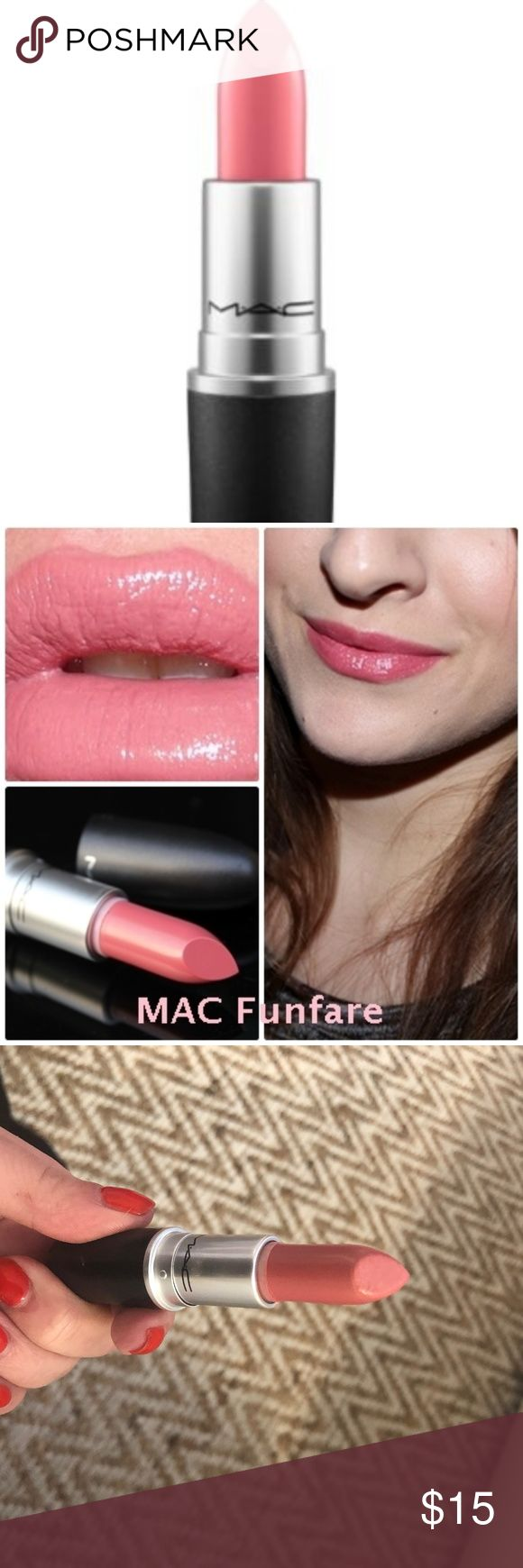 MAC Cremesheen Lipstick - Fanfare Used only once!   Creamy balmy formula with a comforting feel, medium buildable coverage, semi-glossy finish.  Formulated to shade, define, and showcase the lips. Hundreds of hues, high-fashion textures. The iconic product that made M·A·C famous. MAC Cosmetics Makeup Lipstick