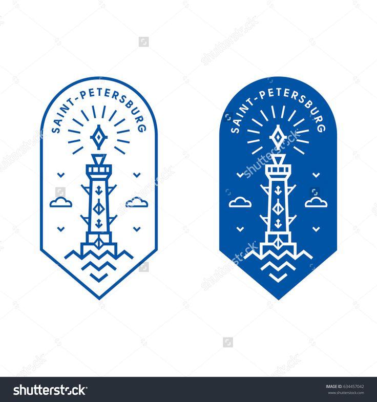 Saint-Petersburg Rostral column vector line art label