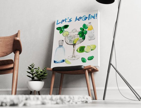 FREE SHIPPING ALL OVER THE WORLD!  Hand painted watercolor art. Gin tonic pun, perfect for your living or kitchen walls. Great gift idea for your friends.  Printed on 100% cotton canvas with wooden frame and metal hanger. Available in 3 dimensions.  Check out our cosmopolian cocktail pun as well: Trust me Im a COSMOPOLITOLOGIST.  https://www.etsy.com/listing/498462326/wall-art-canvas-art-trust-me-im-a?ref=shop_home_active_1  ZuskaArt : artwork | watercolor painti...