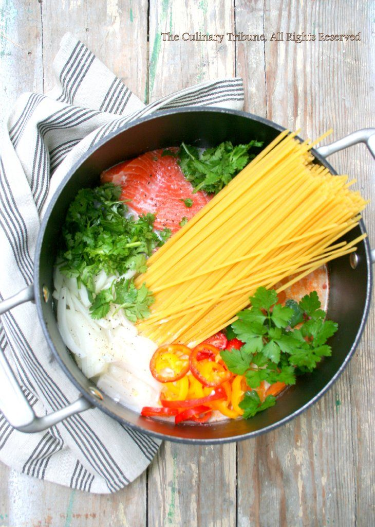 One Pot Wonder Salmon Coconut Curry 3x curry paste, 3x sugar, 2 t. Salt, gr onion, fresh lime juice, 1 lb linguine.  (Photo Source: culinary tribune.com)