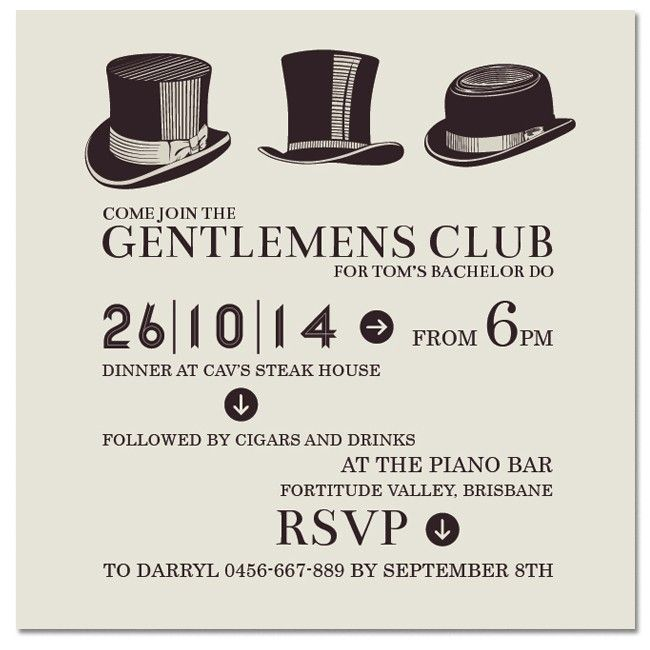 Gentlemens Club Invitations - Hens & Bucks Party - Invitations - Wedding Let's not forget the men! Visit www.paperdivas.com.au for our latest invites for the strapping gentlemen in our lives. ONLY $1.40 EACH!