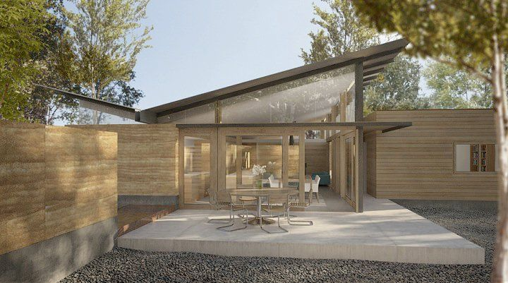 West rendering of Casa Sanitas by Rob Pyatt of Pyatt Studio in Boulder, Colorado. Thick rammed earth walls are to insulate the north side of the house from heat loss and shaded glass is to capture the low winter sun to the south while a thin strip of clerestory glass runs along the north side. Cedar flitch plate beams support the box corrugated steel butterfly roof.