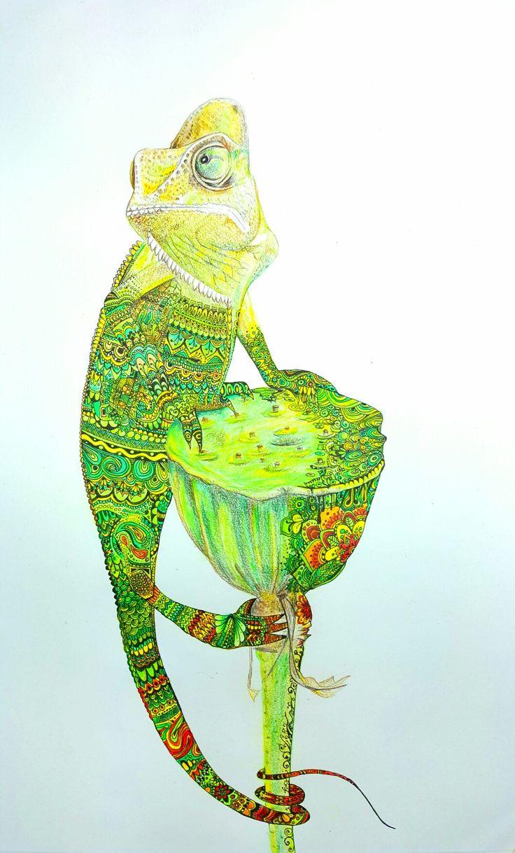 #lizard #Zentangle #paint #Draw #Linetastic #art # #chameleon #polychromos #Doodle