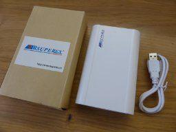 SUPEREX PB-S502WI4 power bank akku ladegerät handy 10400mAh Powerbank externer Akku Ladegerät für 18650 Akku kompatibel für iPhone 4S, 4,5,5S, 6 Series für Samsungx3, x4, galaxy Notizen und Smartphone oder Tablets tragbar Handyakku,Weiß mit 4 Stück 2600mAh 18650 Batterien: : Elektronik