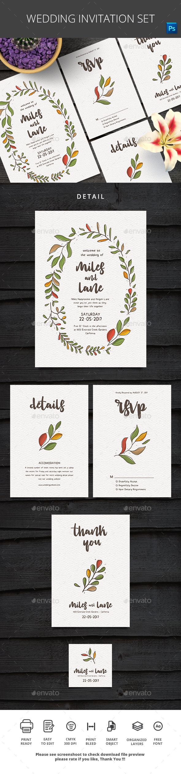 standard size wedding invitation%0A Wedding Invitation Set  u     Photoshop PSD  tropical  handdrawn  u     Download      https