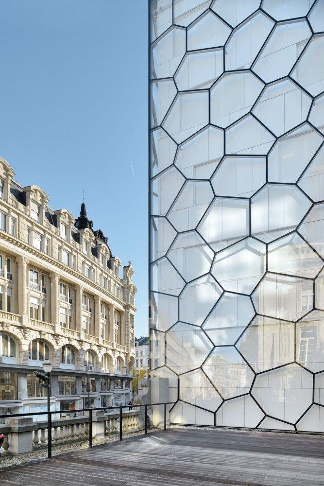 Parlement Francophone Bruxellois. Brussels. Architecture. Design. Parliament. Building. Glass. Honeycomb.