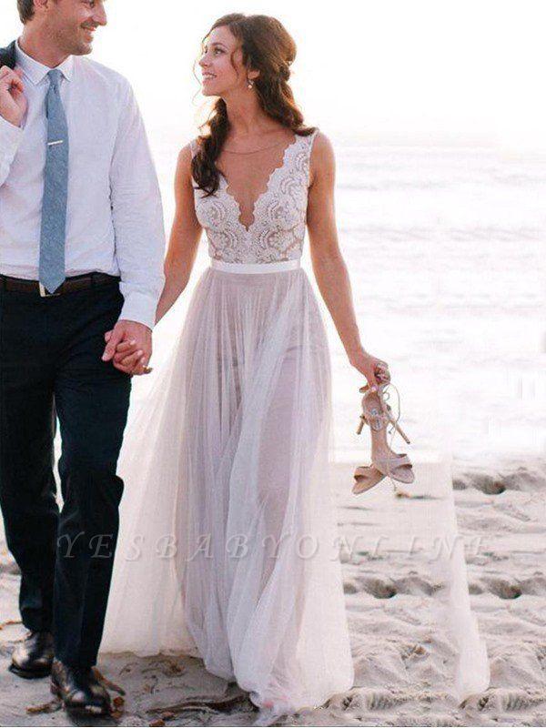 Glamorous Sleeveless Floor Length Scoop Lace Tulle Wedding Dresses Lace Beach Wedding Dress Wedding Dresses Formal Dresses Australia