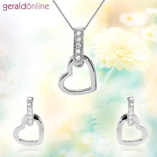 Sparkling eighteen carat white gold hearts make this a very striking set from the First Diamond Collection.  An ideal gift too! :)