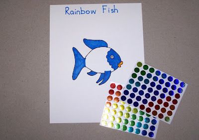 Fine motor skilss - Rainbow Fish Sticker Scales Place the happy face stickers onto the white part of the fish to turn him into Rainbow Fish!