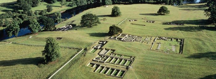 Ruins of a Roman fort along Hadrian's Wall.