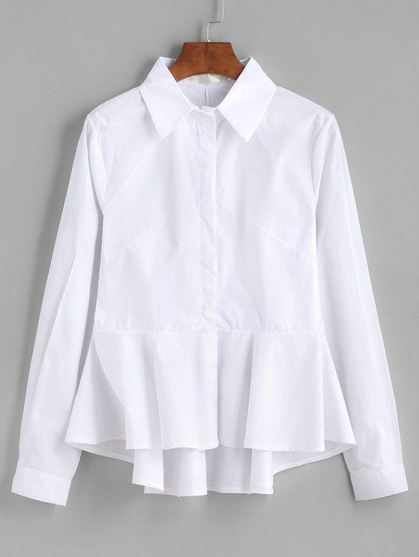 Shop Frill Peplum Dip Hem Blouse online. SheIn offers Frill Peplum Dip Hem Blouse & more to fit your fashionable needs.