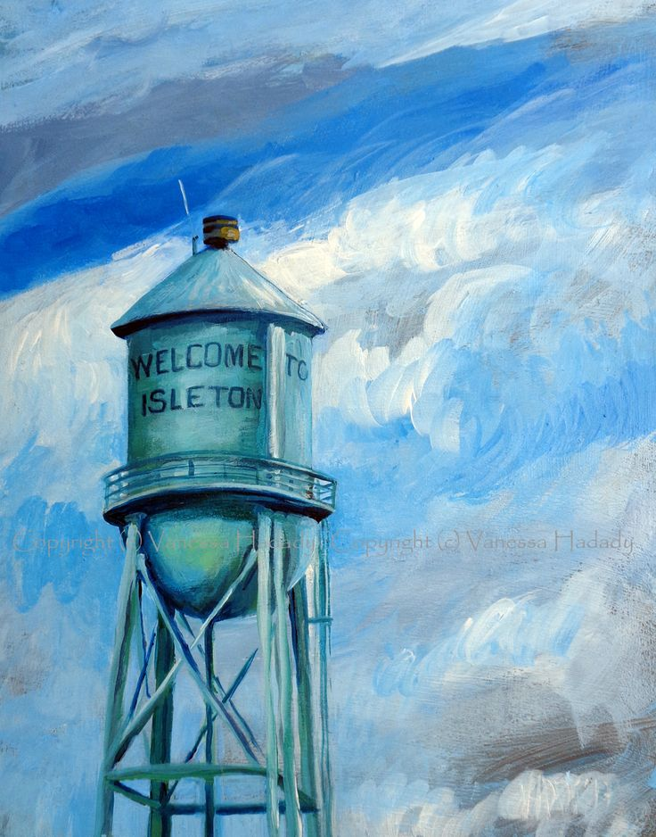 welcome to (Isleton, Calif.), acrylic/gessoed board, 11 x 14 in.  GalleryPreviewOnLine.com   Copyright (c) Vanessa Hadady