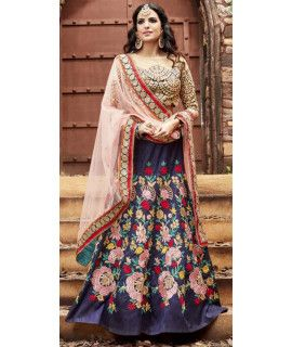 Elegantly Beige And Blue Silk Lehenga Choli.