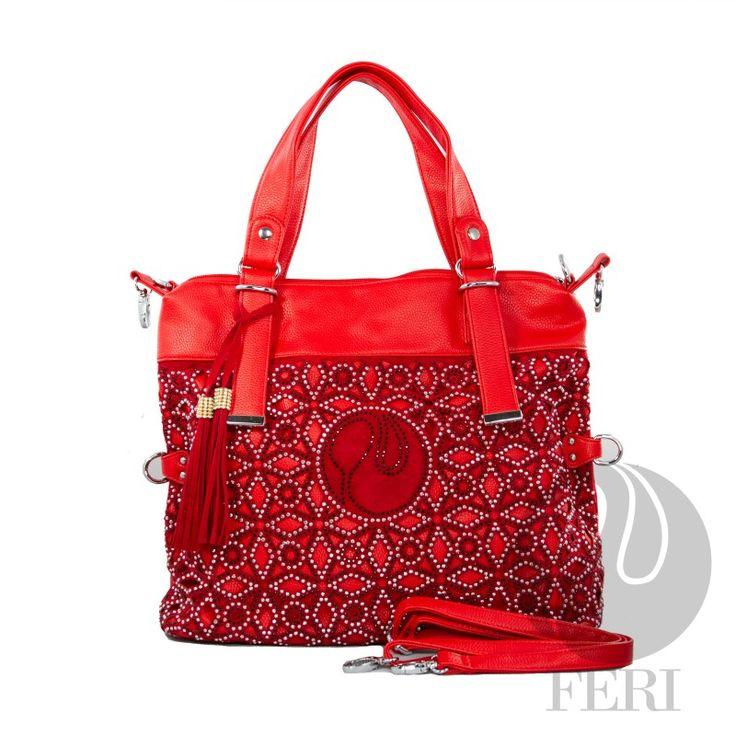 Bold red designer bag!