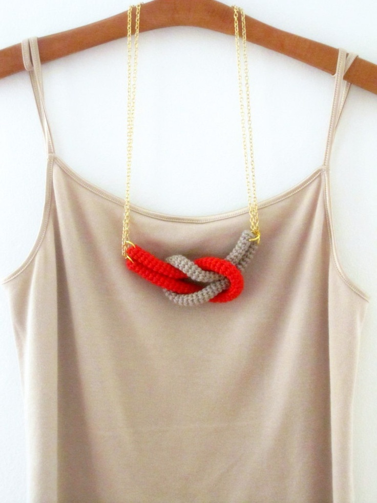 Together crochet knot necklace Nautical knot necklace by sidirom