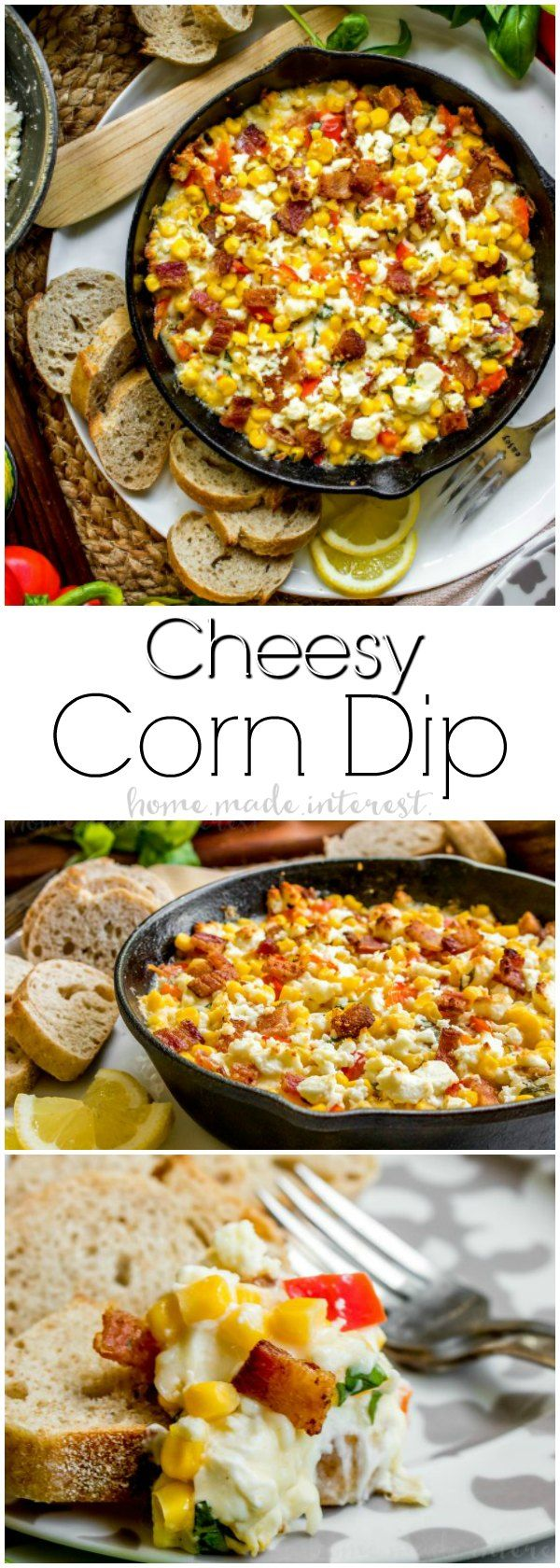 Cheesy Corn Dip   This Cheesy Corn Dip recipe is stuffed full of bacon, three types of cheeses, and sweet corn. It is a hot corn dip recipe that makes great party food! Make this easy appetizer for all of your game day parties. Enjoy the football game with hot corn dip and your favorite crackers!  #ad #DelMonte