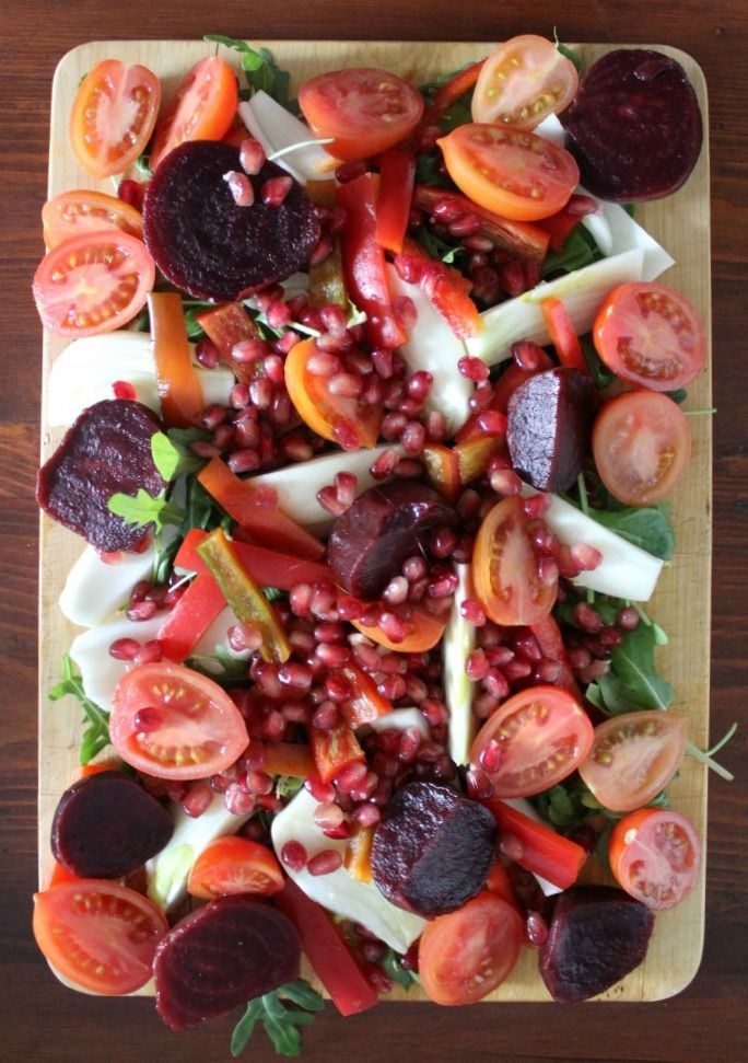 I was craving a huge salad yesterday and this creation was exactly what I needed.  It appeared to be a celebration of red though there was some rocket and fennel hidden in there.  No dressing just some amazing olive oil and a little salt.