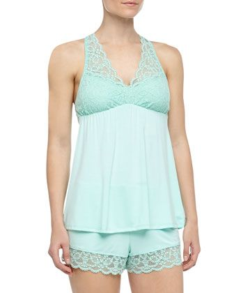 Scalloped Lace Tank & Shorts Pajama Set, Honeydew by Fleur't at Neiman Marcus.